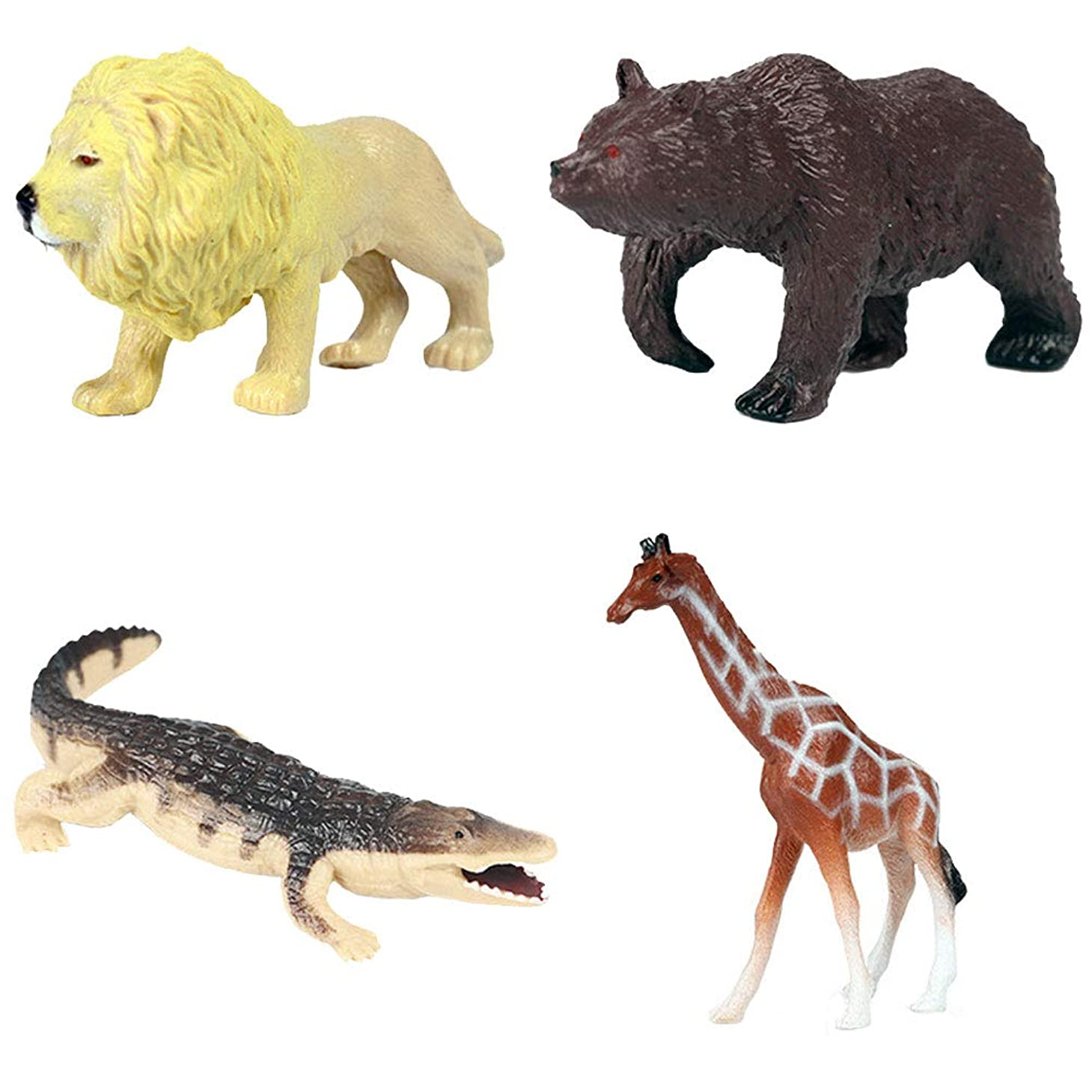 ポインタ苦しめる満了FLORMOON動物フィギュア 4 個リアルなプラスチック製の恐竜のおもちゃセット内容ライオン、ヒグマなど。科学プロジェクト、学習教育おもちゃ、誕生日ギフト、ケーキトッパーのためのキッズ幼児