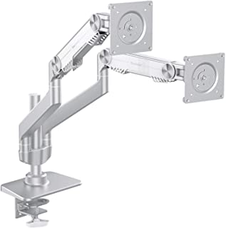 """Bestand Dual Monitor Arm Mount Stand for LCD LED Computer Screen up to 27"""", Swivel Gas Spring, Aluminum Dual Arm Desk Mount"""
