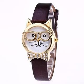 Siviki Women Cute Glasses Cat PU Leather Strip Wrist Watches