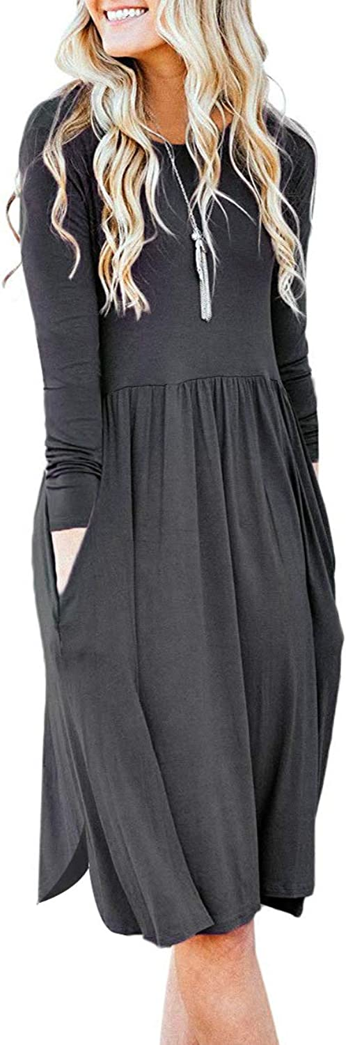 LEANI Women Crew Neck Long Sleeve Split Pleated Loose Swing Casual T Shirt Dress with Pockets