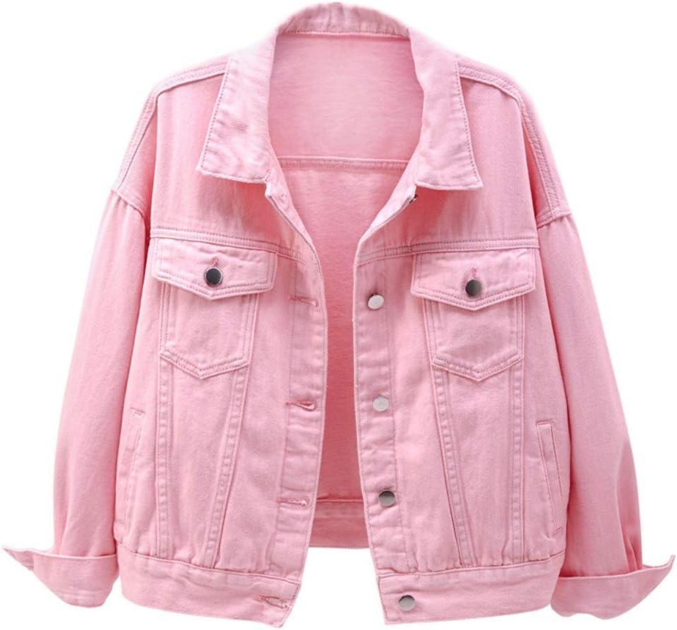 PDGJG Cowgirl Jacket Spring and Autumn Short Coat, Solid Color Denim Jacket Casual Top, Loose Design (Color : C, Size : Medium)