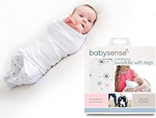 Cuddlegrow Swaddle Blanket/Award-Winning Baby Wrap with Legs | Home, Car, Travel, Stroller | Stretchy & Safe 100% Premium Breathable Cotton for Sleep,Temperature, Feeding, Calming (Pink)
