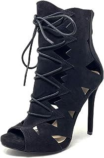 b9e788a2f00a Angkorly - Chaussure Mode Bottine Escarpin Stiletto Ouvert Sexy Femme  imprimé Serpent Python perforée Talon Haut