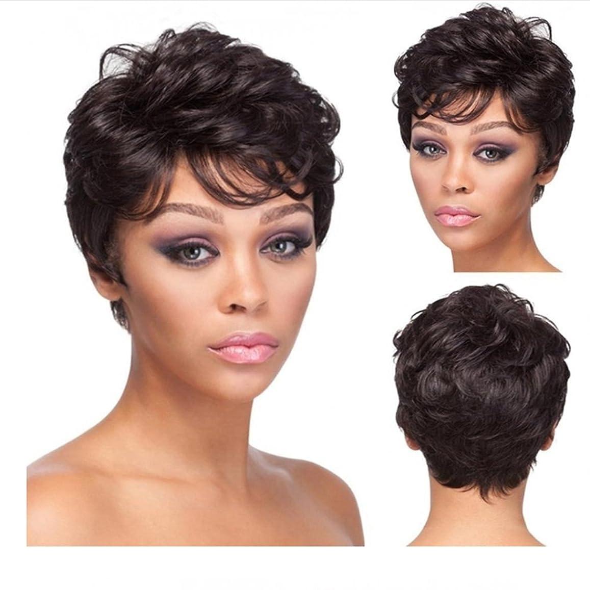 厚いかび臭い故意のDoyvanntgo 女性のための現実的なかつら短くふわふわしたマイクロボリュームのウィッグ斜めのバグスとの日常のかつらのための髪の耐熱ウィッグ20cm / 160g(茶色の黒) (Color : Brownish black)