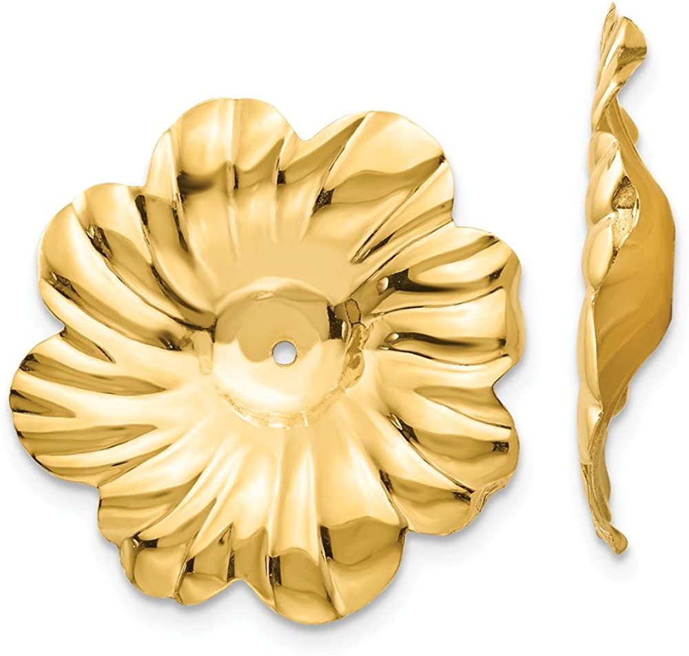 Solid 14k Yellow Gold Flower Floral Earring Jackets - 24mm x 23mm