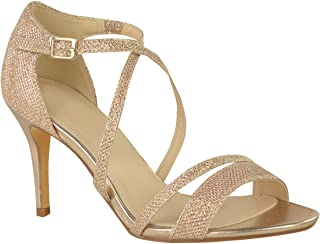 Womens Low Kitten Heel Strappy Sandals Party Prom Wedding Diamante Shoes Size