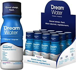 Dream Water Natural Sleep Aid; GABA, MELATONIN, 5-HTP, 2.5oz Shot, Snoozeberry, 12 Count