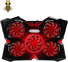 Tree New Bee Cooling Pad for 15.6-17-Inch Laptops with Five 120mm Fans at 1200 RPM, RED