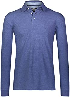 AKA Men`s Solid Polo Shirt Classic Fit - Pique Chambray Collar Comfortable Quality Heather Blue-Long Sleeve X-Large