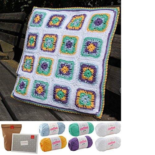 MyOma Häkel-Set Kissen weiß -Retro Kissen häkeln Set- Granny Squares Kissen DIY Set häkeln Cotton Pure Wolle, leicht verständlicher Häkelanleitung Label – Häkelset