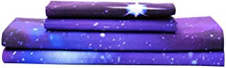 Bedlifes Galaxy Sheets Outer Space 3D Sheet Set Galaxy Theme Bedding sets 3PCS Bed Sheet& Fitted Sheet with 1 Pillowcase Purple Twin