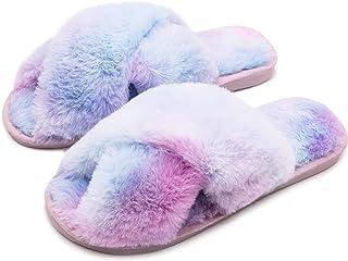 Zapatillas de Estar por Casa de Mujer Pantuflas de Felpa Sandalia Antideslizante para Mujer Zapatos Cruz Suave Puntera Abi...
