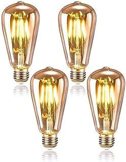 Queta Ensemble de 4 Ampoules Edison ST64 Ampoule LED pour Décoration Vintage Lampe E27 Rétro Filament Ampoule Antique Ampo...