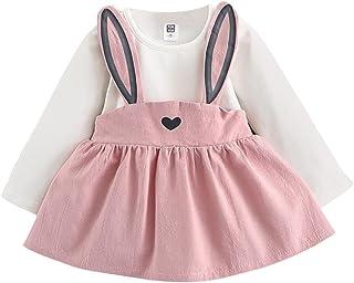0-3 Años Bebé NiñA Vestido De Manga Larga del Conejo Lindo Traje Vestido del Vendaje Otoño Ropa