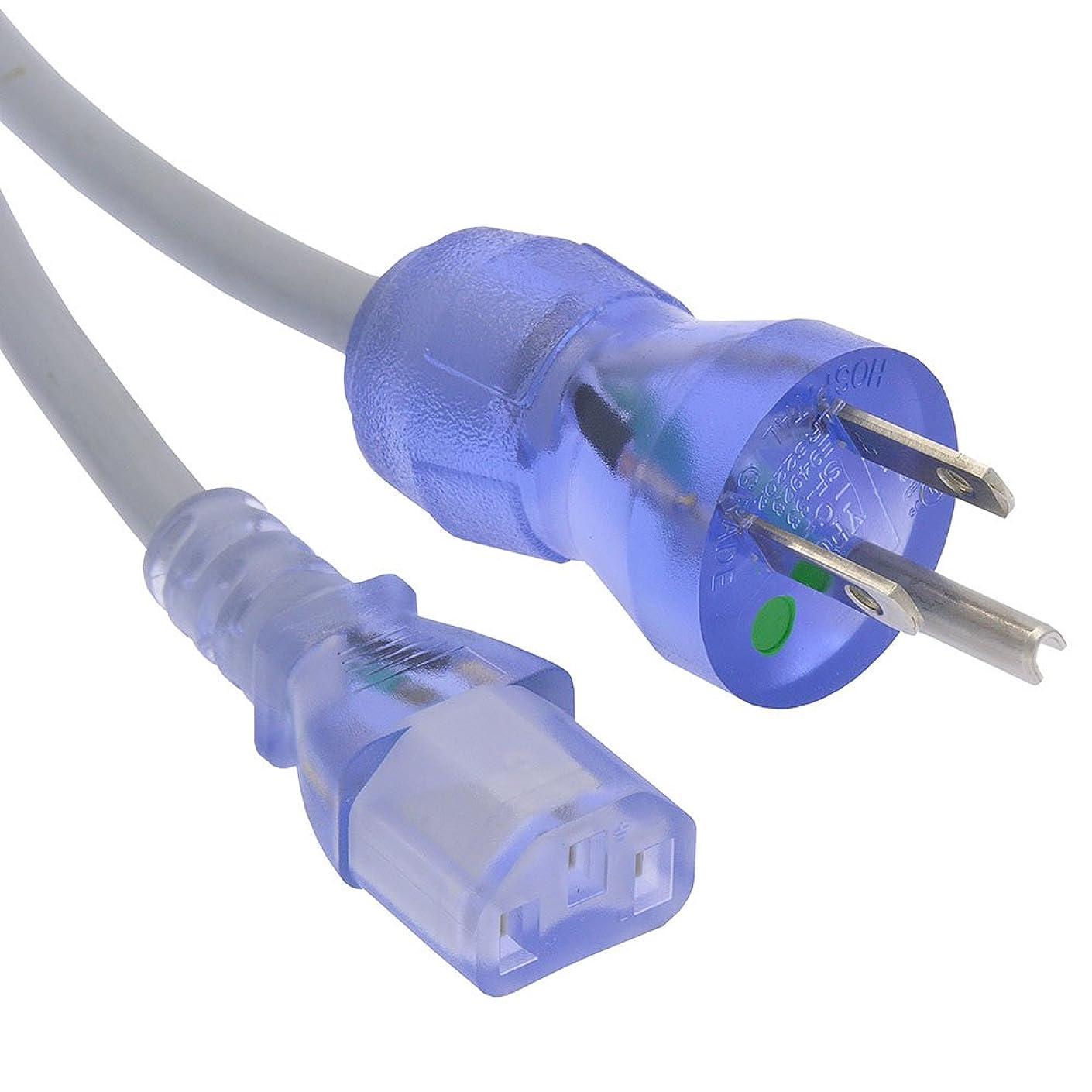 加速するよく話される治世GOWOS (100個パック) 3フィート 病院グレード 電源コード 5-15P - C13 SJT 18/3 クリアブルー