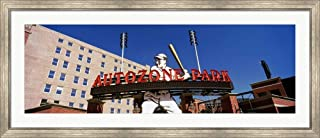 Low Angle View of a Baseball Stadium, Autozone Park, Memphis, Tennessee, USA by Panoramic Images Framed Art Print Wall Picture, Silver Scoop Frame, 54 x 23 inches