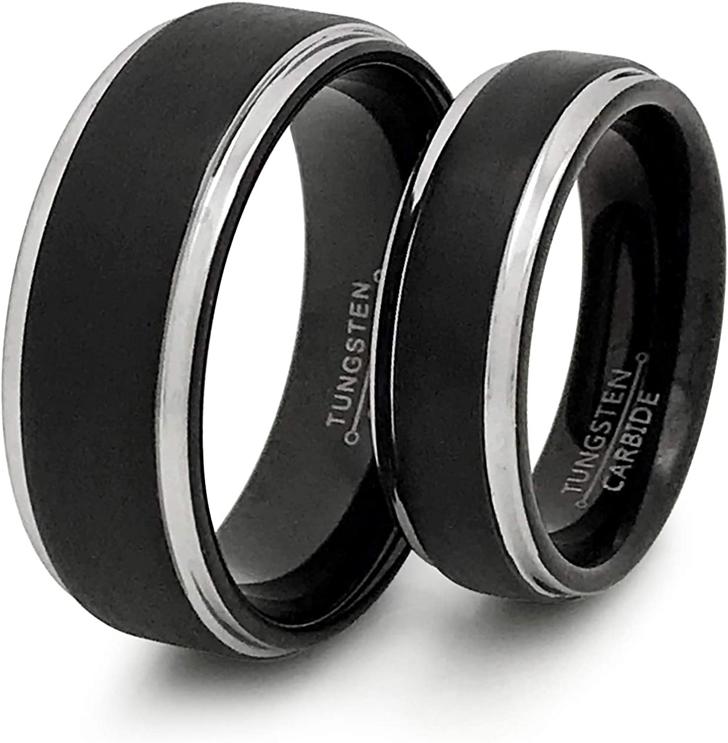 K & Co. 8mm/6mm Tungsten Wedding Rings, Personalized Couples Ring Set, His and Hers Tungsten Ring, Anniversary Rings TCR516