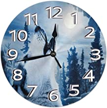 L.Fenn Wall Clock Wolf Howling To The Moon Forest Wall Clock Silent Non Ticking -Round Easy To Read For Home/Office/School Clock