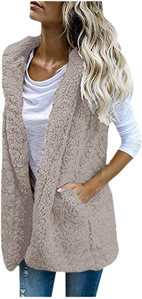 Lialbert Weste Damen Fleece-Weste Mantel Winter Warm Outwear Ärmellose mit Kapuze Winterjacke Pelzweste Felljacke Faux Fur Up Sherpa Jacke Outwear Braun