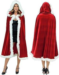 Falecha Adult Child Christmas Cloak Santa Claus Robe Hooded Cape Xmas Costume Cosplay Cappa
