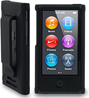 BLACK HARD SHELL CASE COVER WITH BELT CLIP HOLSTER FOR APPLE iPOD NANO 7 7th GEN GENERATION