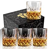 OPAYLY Crystal Whiskey Glasses Set of 4, Rocks Glasses, 10 oz Old Fashioned Tumblers for Drinking Scotch Bourbon Whisky Cocktail Cognac Vodka Gin Tequila Rum Liquor Rye Gift for Men Women at Home Bar