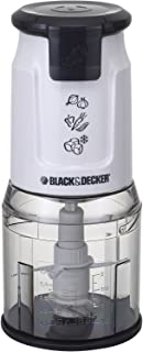 Black+Decker 500W Dual Blade Vertical Chopper with Ice Crusher, White - FC300-B5