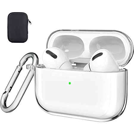 Valkit Compatible Airpods Pro Case Cover, Clear Airpod Pro Soft TPU Protective Case 2019 with Keychain Shockproof Cover for Apple Airpods Pro Charging Case 3RD Gen[Front Led Visible] - Transparent