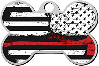 HAOPENGYOU Firefighter Flag Red Line Pet ID Tags Personalized Custom Print Bone Shape Dog Tags & Cat Tags