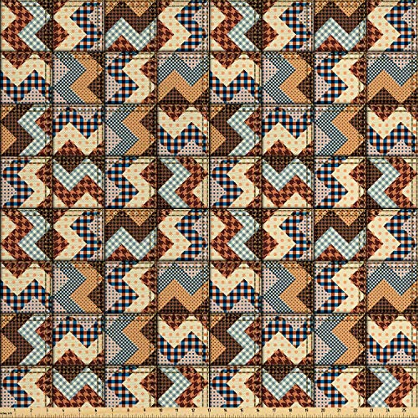 Lunarable Chevron Fabric by The Yard, Old Fashioned Chevron Insignia Motif with Zigzag Lines Curves in Earthy Colors, Decorative Fabric for Upholstery and Home Accents, 3 Yards, Brown Cream