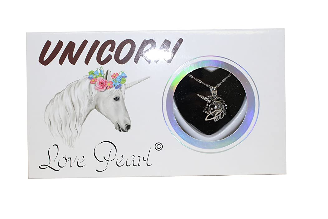 Unicorn Love Wish Pearl Kit Chain Necklace Kit Pendant Cultured Pearl in Kit Set With Stainless Steel Chain 16