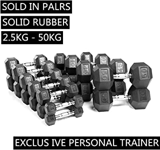 Dumbbells,Rubber Coated Solid Steel Cast-Iron Dumbbell, Rubber Hex Dumbbells, Muscle Toning Weights Full Body Workout, Man...
