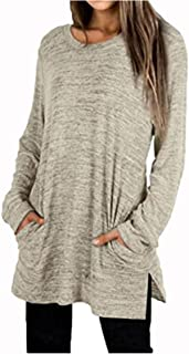 Women's Tunic Top Casual Long Sleeve Loose Fit Flowy Swing Blouse T Shirts with Pockets Polos