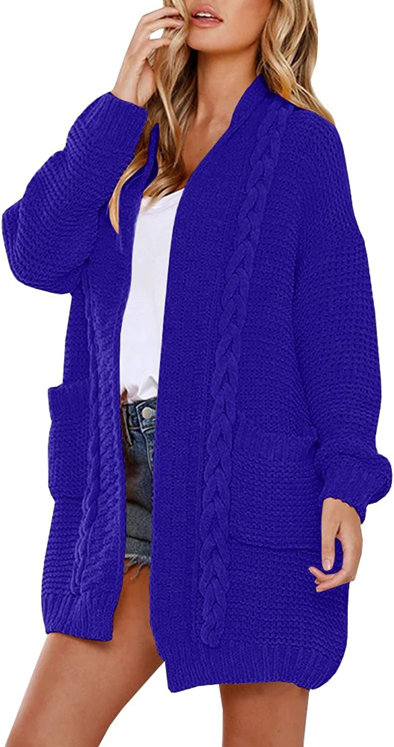YOMISOY Womens Cardigan Sweaters Casual Long Sleeve Open Front Loose Chunky Knit Braided Coat Outwear with Pockets