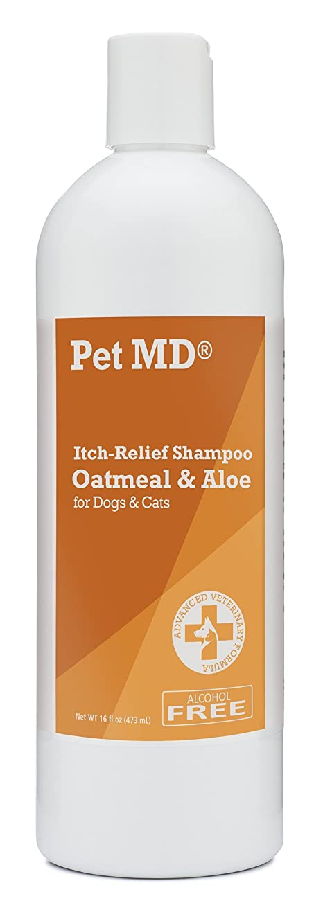 Pet MD - Oatmeal Dog Shampoo Cats and Dogs for Itch Relief and Moisturizer for Dry Skin and Coat - 16 Oz