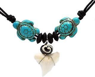 Sea Turtle Shark Tooth Necklace Handmade Hawaiian Style Beach Boy Men