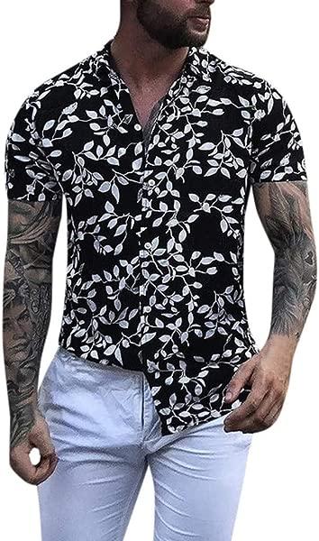 Benficial 男士宽松沙滩裤夏威夷印花纽扣短袖复古 t恤上衣罩衫