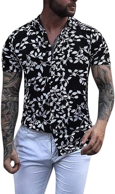 Overdose Camisas para Hombre Fiesta Manga Corta Informal ...