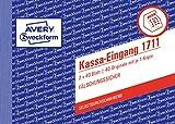 AVERY Zweckform 1711 Kassa-Eingang speziell für Österreich (A6 quer, 2x40 Blatt, selbstdurchschreibend mit farbigem Durchschlag, fälschungssicherer Dokumentendruck) weiß/rosa