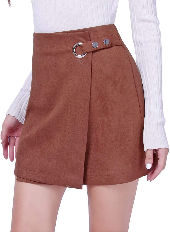 DIASHINY Womens Faux Suede Mini Skirt Above Knee Length Wrap A Line Winter Spring Fall