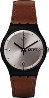Swatch Lonely Desert Quartz Watch with Leather Calfskin Strap, Brown, 20 (Model: SUOB721
