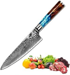 Promithi Cuchillo Chef De Cocina 8 Inch, Japanese VG10 Cuchillo de Damasco Acero inoxidable de alto carbono de 67 capas con mango ergonómico,usado para carne pescado vegetal sushi fruta corte afilado