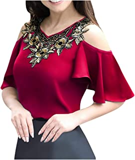 ReooLy Women Hollow Out Embroidery Patchwork V-Neck Short Sleeve Tops Blouse