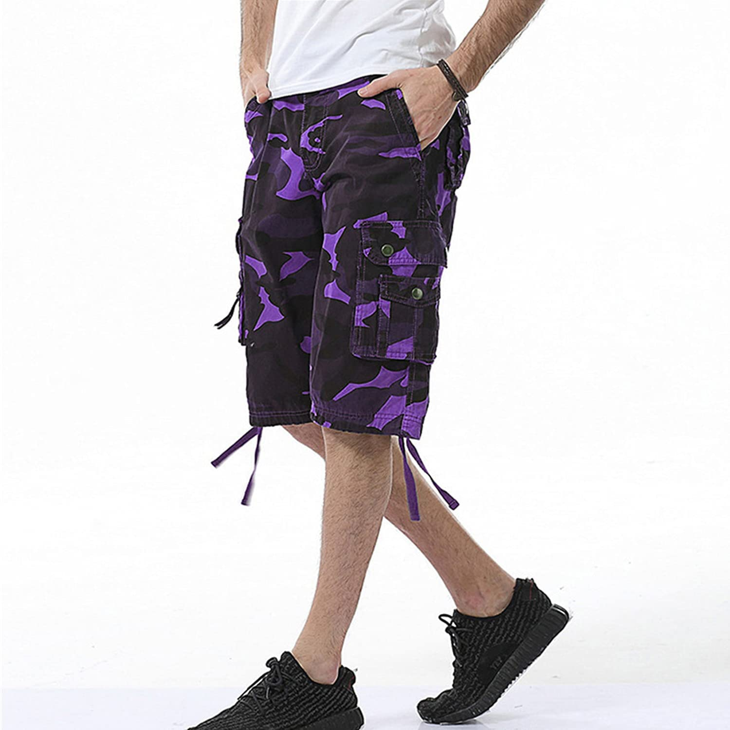 Men's Camouflage Cargo Shorts Lightweight Short With Multi Pockets Casual Loose Outdoor Beach Short