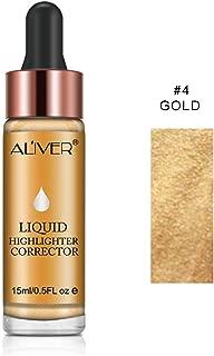 Face Glow Liquid Highlighter, Aliver Contour Make Up Glitter Brighten Shimmer 3D Highlighters Waterproof (#4 GOLD)