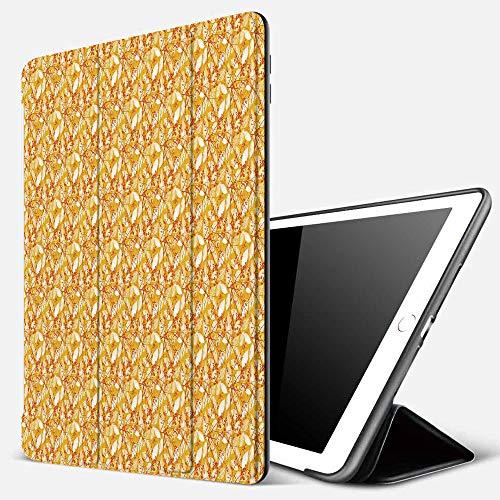 Funda iPad 10.2 Inch 2018/2019,Otoño, patrón de follaje de Temporada de otoño con Fondo de Colores cálidos Siluetas de Hojas, caléndula Naranja bl,Cubierta Trasera Delgada Smart Auto Wake/Sleep