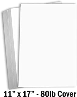 Hamilco White Cardstock Thick 11x17 Paper - Heavy Weight 80 lb Cover Card Stock 50 Pack (80lb Cover)