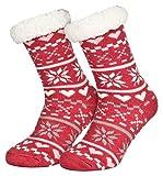 Piarini 1 Paar Kuschelsocken mit ABS Sohle - warme Damen Socken Hüttensocken - Wintersocken mit Anti Rutsch Noppen - Love-Erdbeer-Rot (One-Size)