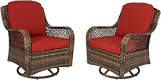Ulax Furniture Patio Wicker Swivel Glider Chair Outdoor Cushioned Rattan Rocker Rocking Chair (Red)