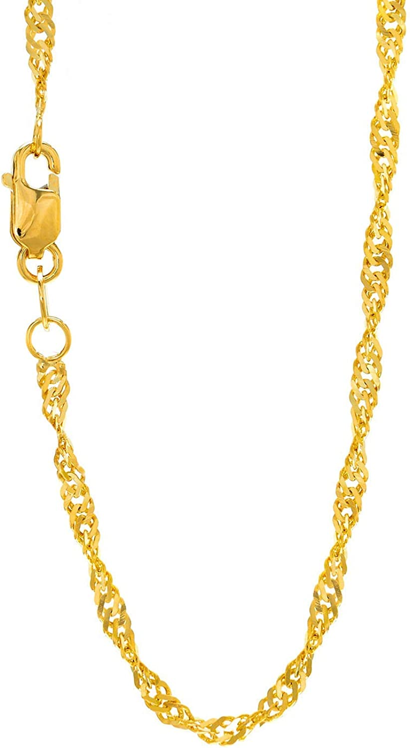 JewelStop 10K Solid Gold Yellow Or White 1.5mm Singapore Rope Sparkle Necklace Chain 16